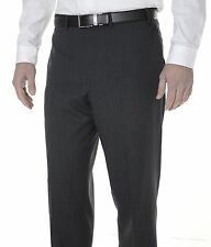 Calvin Klein Slim Fit Charcoal Gray Textured Flat Front Wool Dress Pants