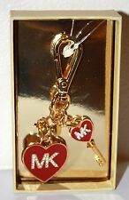 Michael Kors Pave Enamel Heart and Key Toggle Snap Attach Chain Keychain Key Fob