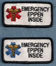 "EMERGENCY EPIPEN INSIDE service dog vest patch 1.5"" x 3"""
