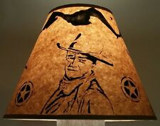 """JOHN WAYNE"" *RUSTIC LAMP SHADE* LOG CABIN DECOR WESTERN RANCH COWBOY SHERIFF"