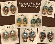 CUSTOM Real Feather Earrings w/Turquoise - Classic Design ~ Handmade in USA!