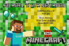PERSONALIZED MINECRAFT INVITATIONS FOR HAPPY BIRTHDAY WITH ENVELOPE