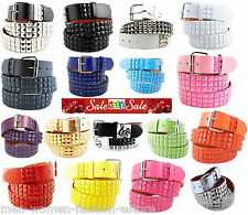 New 3Rows Metal Pyramid Studded Leather Belt Unisex Men Women Punk Rock Goth Emo