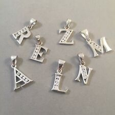 .925 Sterling Silver CZ ALPHABET PENDANT Charm Letter Initial Cubic Zirconia 925