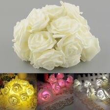 20LED Rose Flower Battery Garden Christmas Home String Garland Decor Light Gift