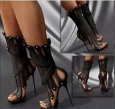 Roman tassels open toe custom made women's Gladiator sandals stilettos boots sz