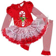 CHRISTMAS CANDY CANE Toddler Girls Top Dress+Leggings Set Outfit Clothing 12M-6X