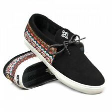 Fallen Footwear Mens Apache Skate Shoes in Black Tribe Suede/Canvas Trainers