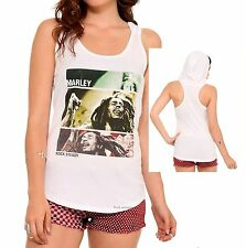 Bob Marley Rock Steady Rasta rock Girls Racer Hooded Tank Top Tee T-Shirt NWT