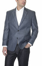 Izod Mens Medium Blue Textured Two Button Single Rear Vent Blazer Sportcoat