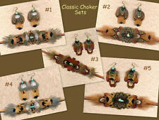 CUSTOM Real Feather Choker Set w/Turquoise - CLASSIC!!! ~ Handmade in USA!