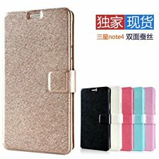 New Silk Leather Flip Case Cover Wallet Card Holder for Samsung Galaxy &iPhone
