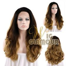 """Long Curly 18""""-28"""" Black Mixed Light Brown Lace Front Wig Heat Resistant"""
