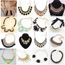 Trendy Charm Jewelry Pendant Chain Crystal Choker Chunky Statement bib Necklace