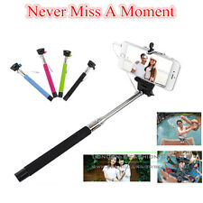 Monopod Selfie Wired Stick Telescopic Cable Take Pole Remote Mobile Phone Holder