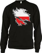Poland Shred Flag Polish Pride Polska Flaga Duma Long Sleeve Thermal