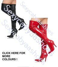 WOMENS LADIES THIGH HIGH FASHION BOOTS HIGH HEEL FULL SIDE ZIP SIZE 3-8 AB12051T