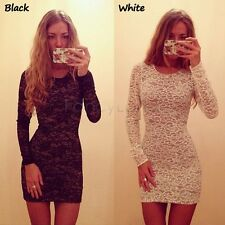 Women's Ladies Long Sleeve O-Neck Sexy Lace Slim Fitting Party Club Dress