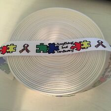 "7/8"" Autism Awareness ""Anything But Ordinary"" Grosgrain Ribbon by the yard (USA)"