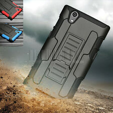 Rugged Hybrid Armor Hard Impact Holster Stand Skin Case Cover For ZTE Zmax Z970