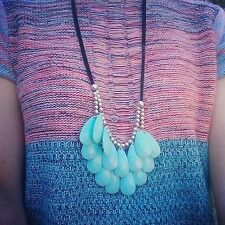 Greens & Blue range -Quality drop bead necklace-boho,Nerine Anne,colour blocking