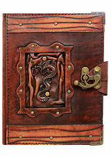 Refillable Leather Journal Chinese Dragon Pendant Diary / Lock / Brown Notebook