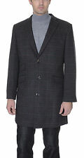 Slim Fit Mens ?? Length Charcoal Gray With Red Windowpane Wool Blend Car Coat