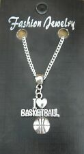 """18"""" or 24 Inch Chain Necklace & I Love Basketball Charm Pendant Gift Souvenir"""