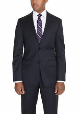 DKNY Trim Fit Navy Blue Striped Two Button Wool Suit