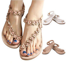 Summer Women Bohemia Floral Flat Shoes Beach Sandals Thongs Slippers Flip Flops