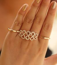 New Fashion Punk Inlaid Crystal Infinity Symbol Double Fingers Rings for Unisex