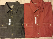 NWT SMALL Mens J. Crew Red/Gray Chambray Button Up Long Sleeve Shirt Flannel