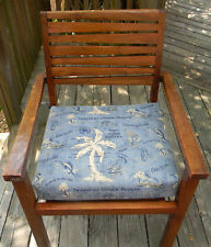 "IN / OUTDOOR TEAK PATIO DINING CHAIR SEAT CUSHION TOMMY BAHAMA FABRICS 18"" X 17"""