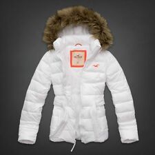 HOLLISTER by Abercrombie Puffer Hoodie Jacket Fur Trim Hood Coat WHITE POINT M L