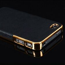 Frame Luxury Leather Chrome Hard Back Case Cover For iPhone 5 5S 6 4.7 Plus 5.5""