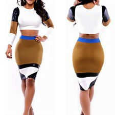 Womens leather Bodycon Pencil Crop ONE Top Blouse and ONE Sheer Skirt Dress Set