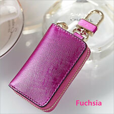 Fashion Knurling Cow Leather Car Key Wallet Coin Case Keychain Holder Cover Case
