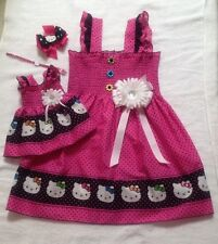New Handmade Pink & Black Hello Kitty(Toddler,Girls) Dress, Doll Dress &Hair Bow