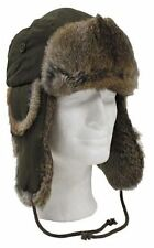 OLIVE GREEN TRAPPER / RUSSIAN STYLE WINTER HAT VERY WARM WITH REAL RABBIT FUR