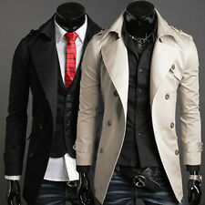 CHEAP New Men Trench Coat Winter Long Jacket Double Breasted Warm Slim Overcoat