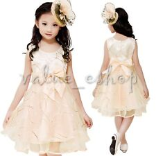 New Kids Girls Princess Pageant Baby Toddler Bow Tutu Party Wedding Flower Dress