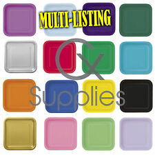 """14x 9"""" Square Paper Plates Party Solid Colours Tableware Events Catering Food"""