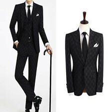 men s suits uk prom grooms slim fit wedding tuxedos formal black checks suit US