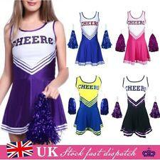 HIGH SCHOOL CHEER GIRL UNIFORM cheerleader 1 pcs dress COSTUME OUTFIT W/POM POMS