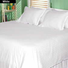 WHITE STRIPED 801-1000 TC 100% EGYPTIAN COTTON BEDDING COLLECTION QUEEN SIZE