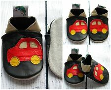 Baby Boy Leather Soft Sole Shoes Fast Car Brown Red Tan Black Gift First Walkers