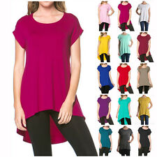 USA Women Scoopneck Short Sleeve High Low Hem Long Tunic Top Shirt Dress  SML XL