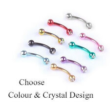 Curved Barbell Colours 3mm Crystal Ball Eyebrow Banana Piercing Rook Bar 16G
