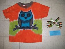 Handmade Tie Dye GIRLS shirt - OWL - size 4T - with hair ribbon barrette clip