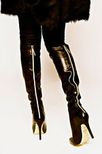ANNA DELLO RUSSO AdR H&M BLACK LEATHER GOLD ZIP AT THE BACK BOOTS NEW